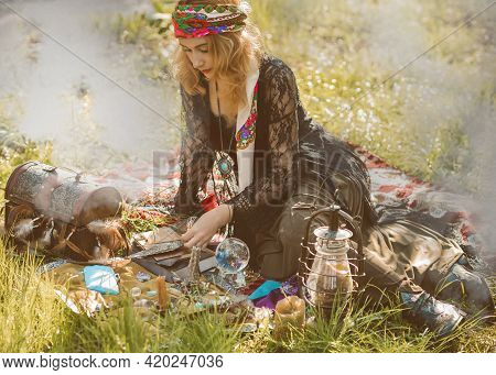 Gypsy Soul... Boho Woman With Magical Stuff At Field, Lifestyle, Predicting, Ideas For Costume On Ha