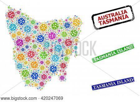 Vector Covid-2019 Collage Tasmania Island Map, And Grunge Tasmania Island Seal Stamps. Vector Colore