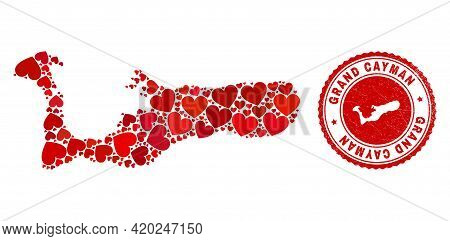 Collage Grand Cayman Island Map Composed With Red Love Hearts, And Dirty Stamp. Vector Lovely Round