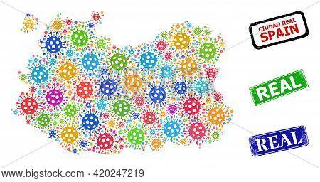 Vector Viral Mosaic Ciudad Real Province Map, And Grunge Real Stamps. Vector Vibrant Ciudad Real Pro