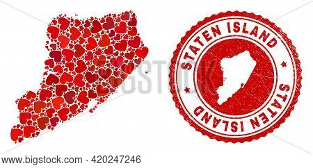 Collage Staten Island Map Created From Red Love Hearts, And Rubber Seal Stamp. Vector Lovely Round R