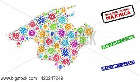 Vector Contagious Collage Majorca Map, And Grunge Mallorca Island Seal Stamps. Vector Colorful Major