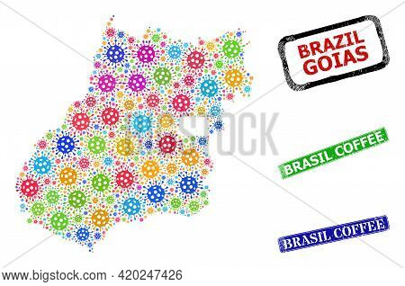 Vector Viral Collage Goias State Map, And Grunge Brasil Coffee Seals. Vector Colorful Goias State Ma