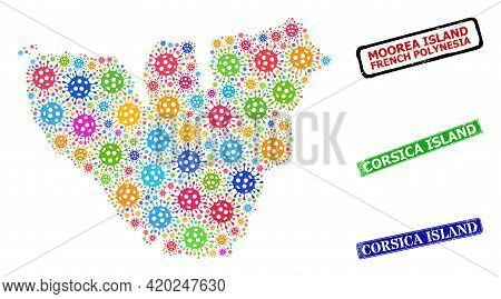 Vector Viral Mosaic Moorea Island Map, And Grunge Corsica Island Seal Stamps. Vector Vibrant Moorea