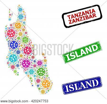 Vector Covid Collage Zanzibar Island Map, And Grunge Island Badges. Vector Multi-colored Zanzibar Is