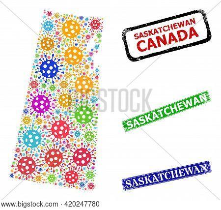 Vector Contagious Collage Saskatchewan Province Map, And Grunge Saskatchewan Seal Stamps. Vector Vib