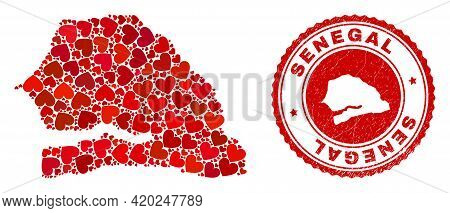 Mosaic Senegal Map Composed From Red Love Hearts, And Scratched Seal Stamp. Vector Lovely Round Red