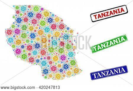 Vector Bacilla Mosaic Tanzania Map, And Grunge Tanzania Badges. Vector Multi-colored Tanzania Map Co