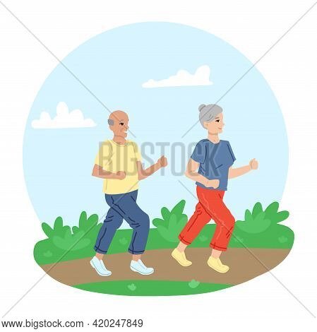 Couple Of Retirees, Jogging Along The Road, In Nature, Playing Sports, Grandparents Walk Jogging. Ve