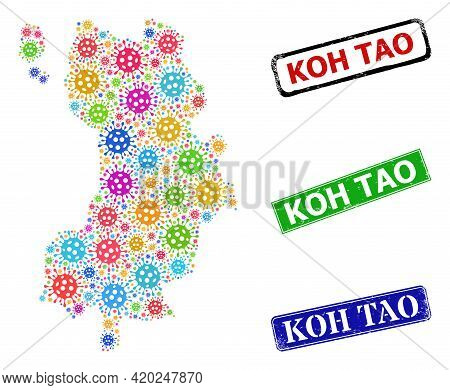 Vector Infection Collage Koh Tao Map, And Grunge Koh Tao Seal Stamps. Vector Colorful Koh Tao Map Co