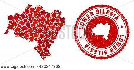 Collage Lower Silesia Province Map Created With Red Love Hearts, And Rubber Stamp. Vector Lovely Rou