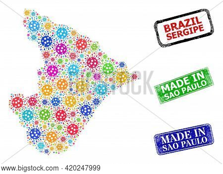 Vector Bacterium Collage Sergipe State Map, And Grunge Made In Sao Paulo Seals. Vector Colorful Serg