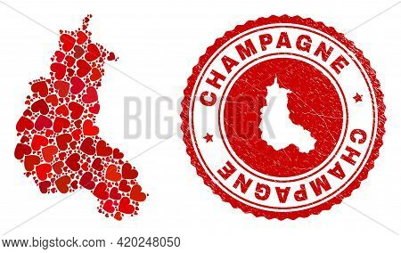 Collage Champagne Province Map Created With Red Love Hearts, And Rubber Seal. Vector Lovely Round Re