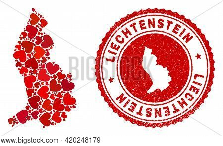 Mosaic Liechtenstein Map Designed With Red Love Hearts, And Textured Seal Stamp. Vector Lovely Round