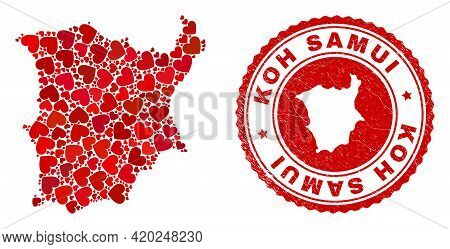 Collage Koh Samui Map Created With Red Love Hearts, And Dirty Seal Stamp. Vector Lovely Round Red Ru