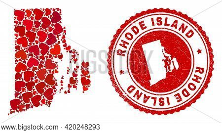 Collage Rhode Island State Map Designed With Red Love Hearts, And Corroded Seal Stamp. Vector Lovely