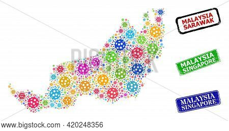 Vector Bacilla Collage Sarawak State Map, And Grunge Malaysia Singapore Seals. Vector Multi-colored