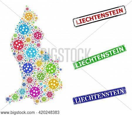 Vector Coronavirus Collage Liechtenstein Map, And Grunge Liechtenstein Seals. Vector Vibrant Liechte