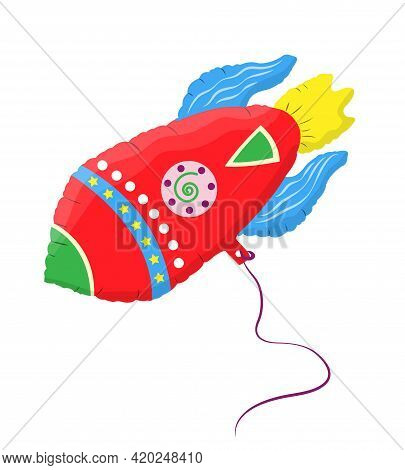 Balloon In Shape Of Rocket For Any Occasion. Decoration For Birthday, For Children, For Room Decorat
