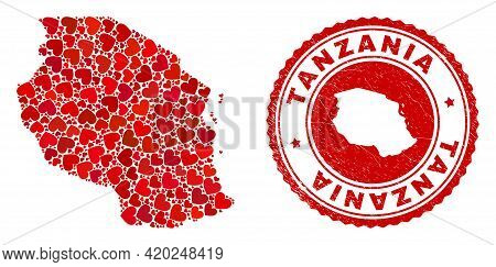 Collage Tanzania Map Created With Red Love Hearts, And Grunge Seal Stamp. Vector Lovely Round Red Ru
