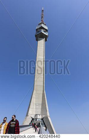 Belgrade, Serbia - April 24, 2021 : Visitors At Television Tower At Avala Mountain In Belgrade, Serb