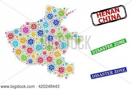 Vector Virulent Mosaic Henan Province Map, And Grunge Disaster Zone Seals. Vector Colored Henan Prov