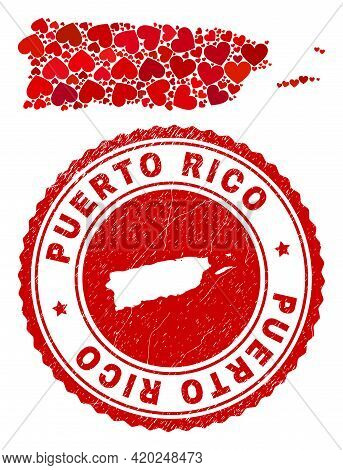 Mosaic Puerto Rico Map Formed With Red Love Hearts, And Textured Seal Stamp. Vector Lovely Round Red