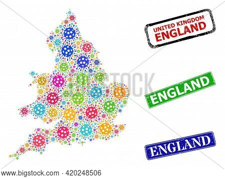 Vector Bacterium Collage England Map, And Grunge England Seals. Vector Multi-colored England Map Col