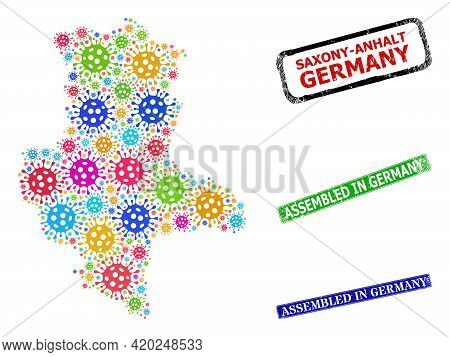 Vector Viral Collage Saxony-anhalt Land Map, And Grunge Assembled In Germany Seal Stamps. Vector Col