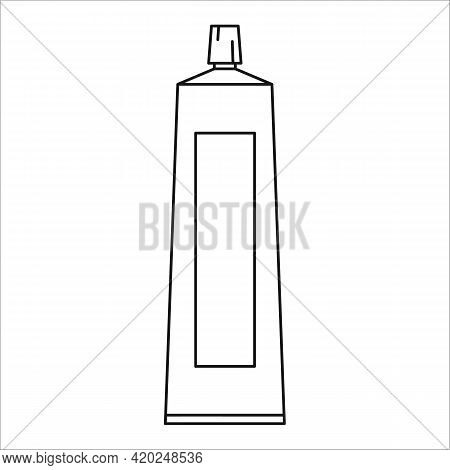 Toothpaste Vector Outline Icon Isolated On White Background. Toiletries Sign. Cosmetic For Skin Care