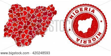 Collage Nigeria Map Designed With Red Love Hearts, And Rubber Seal. Vector Lovely Round Red Rubber S
