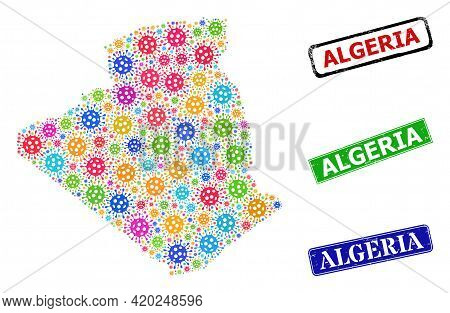 Vector Virulent Collage Algeria Map, And Grunge Algeria Seal Stamps. Vector Colored Algeria Map Coll