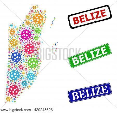Vector Bacilla Mosaic Belize Map, And Grunge Belize Seal Stamps. Vector Colorful Belize Map Mosaic,