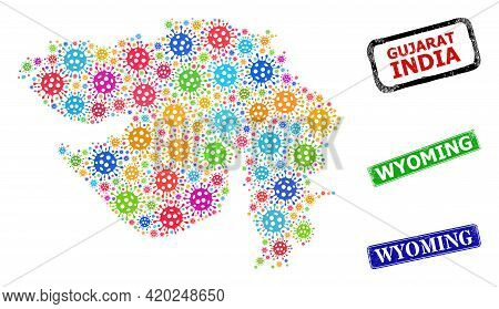 Vector Infection Mosaic Gujarat State Map, And Grunge Wyoming Seal Stamps. Vector Colored Gujarat St