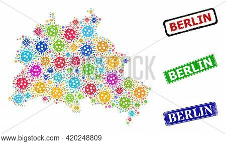 Vector Virus Collage Berlin City Map, And Grunge Berlin Seals. Vector Multi-colored Berlin City Map