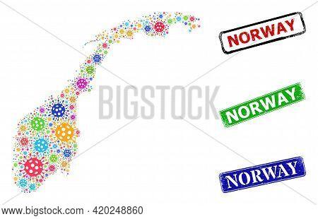 Vector Coronavirus Collage Norway Map, And Grunge Norway Seals. Vector Multi-colored Norway Map Coll