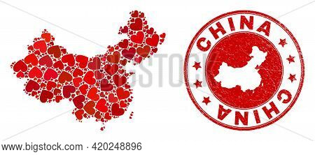 Collage China Map Composed With Red Love Hearts, And Rubber Seal. Vector Lovely Round Red Rubber Sea