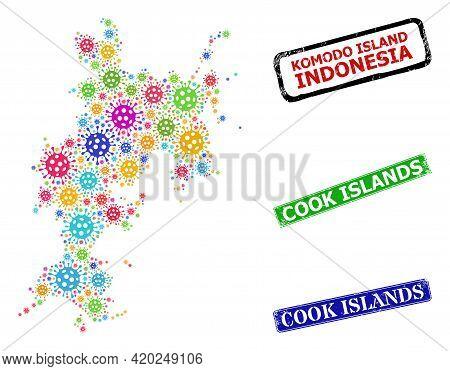Vector Coronavirus Mosaic Komodo Island Map, And Grunge Cook Islands Badges. Vector Vibrant Komodo I