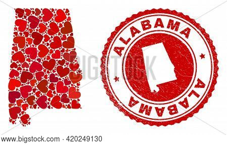 Mosaic Alabama State Map Composed With Red Love Hearts, And Rubber Seal Stamp. Vector Lovely Round R