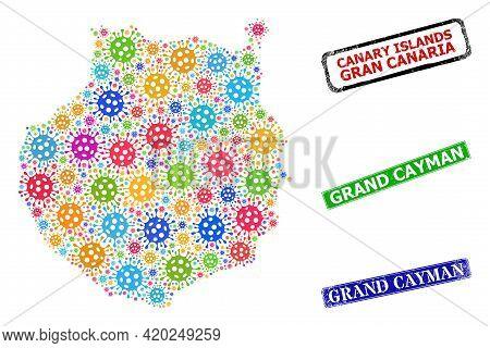 Vector Covid Collage Gran Canaria Map, And Grunge Grand Cayman Seals. Vector Multi-colored Gran Cana