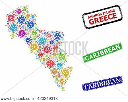 Vector Covid Collage Andros Island Of Greece Map, And Grunge Caribbean Badges. Vector Colored Andros