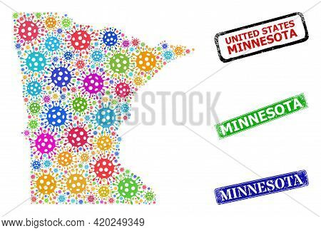 Vector Cell Mosaic Minnesota State Map, And Grunge Minnesota Seal Stamps. Vector Colored Minnesota S
