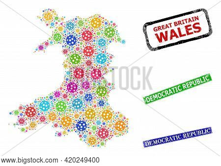 Vector Cell Collage Wales Map, And Grunge Democratic Republic Stamps. Vector Multi-colored Wales Map