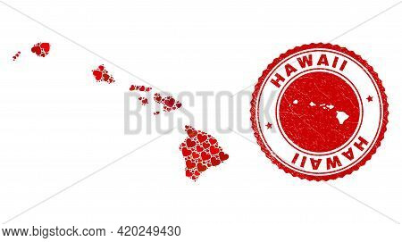 Mosaic Hawaii State Map Designed With Red Love Hearts, And Rubber Seal. Vector Lovely Round Red Rubb