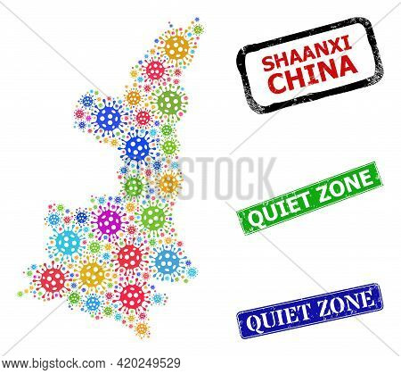 Vector Viral Mosaic Shaanxi Province Map, And Grunge Quiet Zone Seal Stamps. Vector Colorful Shaanxi