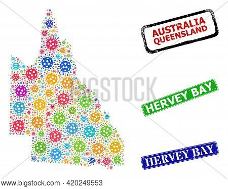 Vector Bacterium Mosaic Australian Queensland Map, And Grunge Hervey Bay Seal Stamps. Vector Multi-c