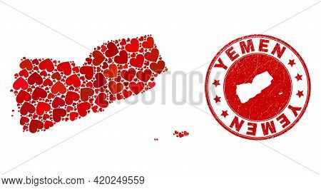 Collage Yemen Map Composed With Red Love Hearts, And Rubber Seal. Vector Lovely Round Red Rubber Sea