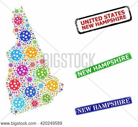 Vector Virulent Mosaic New Hampshire State Map, And Grunge New Hampshire Seals. Vector Multi-colored
