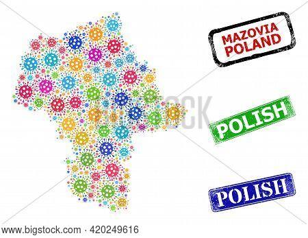 Vector Covid Collage Masovian Voivodeship Map, And Grunge Polish Badges. Vector Multi-colored Masovi