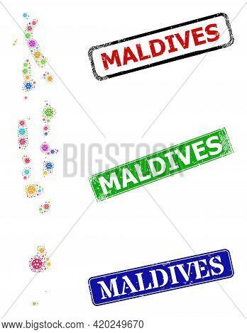 Vector Bacilla Collage Maldives Map, And Grunge Maldives Stamps. Vector Multi-colored Maldives Map C